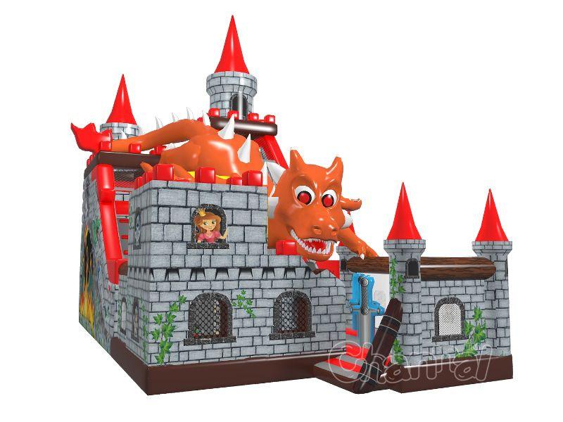 toboggan gonflable château d'attaques de dragon a vendre