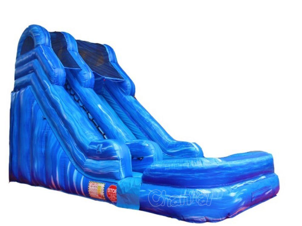 toboggan aquatique gonflable marbre bleu